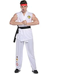 """Adult Mens Karate Fighter Costume, Cobra Kung Fu , Bachelor Party One Size 5'5"""" - 5'10"""""""