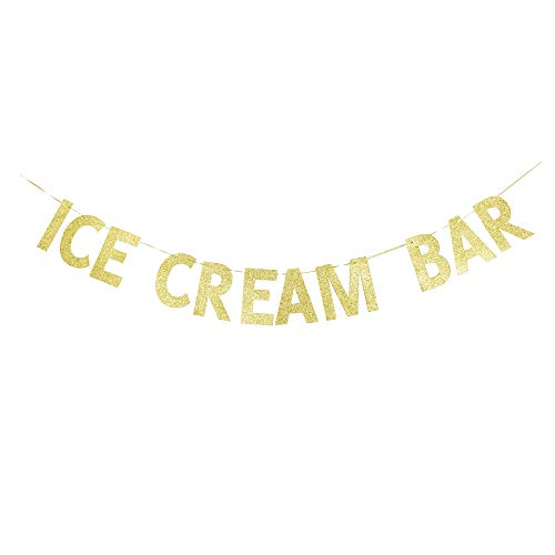 Ice Cream Bar Banner, Ice Cream Theme Party Sign, Kids/Children Birthday Decors Sign Garland Gold Gliter Paper