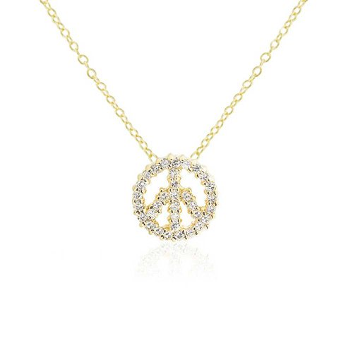 Gold Peace Sign Necklace - 9
