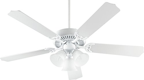 (Quorum International 77525-1606 Capri VI 52-Inch 3 Light Ceiling Fan, Gloss White Finish with Alabaster Glass Light Kit and White Blades)