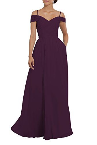 Off The Shoulder Ruched Chiffon Plus Size Bridesmaid Dress Long Evening Gown with Pockets Size 20 Plum