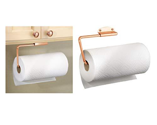 iDesign Forma Metal Swivel Wall Mount Paper Towel Holder Dispenser for Under Cabinet or Door, Set of 1, Copper Copper Paper Towel Holder