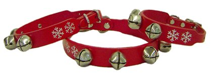 "Auburn Leather Red Jingle Bells Christmas Pet Dog Collar 5/8"" x 16"""