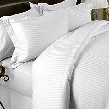 Luxurious SEVEN (7) Piece Set, 1000TC White Stripe, KING Size, 4pc BED SHEET SET & 3pc DUVET SET, 1000 Thread Count, 100% Egyptian Cotton