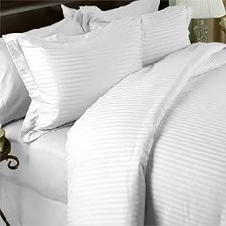 White Damask Stripe California King Size THREE Piece Duvet Cover Sheet With Pair 2 Peices Of Matching Pillowcases 1500 Thread Count 100 Long Staple Natural Combed Giza Cotton