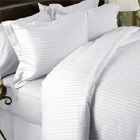 Egyptian Bedding 1000 Thread Count Egyptian Cotton 1000TC Pillow Case Set, Full, White Stripe 1000 TC