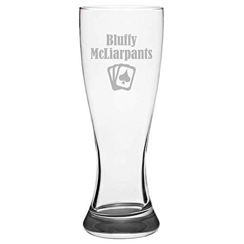 Funny Poker Pilsner Glass - Poker Player Gift - Gambler Present - Bluffy McLiarpants - Beer Glass