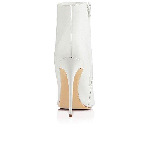 ... EDEFS Damen 10cm Spitze Zehen Stiletto Kurzschaft Stiefel  Reißverschluss High Heels Boots Schuhe Weiß 6bd9940554