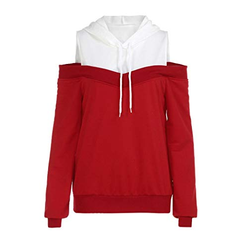iYBUIA Womens Cotton Off Shoulder Long Sleeve Patchwork Hoodie Sweatshirt Hooded Pullover Tops Blouse(Red,L)]()