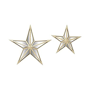 Deco 79 18198 Alluring Metal Mirror Wall Star, Set of 2