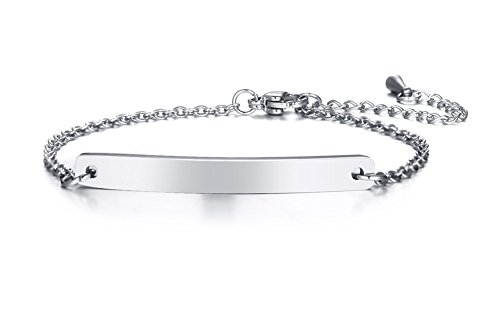 Price comparison product image VNOX Personalized Dainty Bar Stainless Steel Link Friendship Bracelet for Women Girl, Size Adjustable