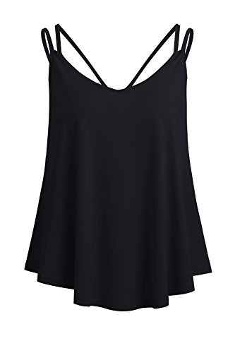 Pleats Camisole - Yeyemet Flowy Camisoles for Women Curved Hem Tank Cami Breezy Features V Neck Feminine Thin Summer Clothes Dressy Bandage Back Black Xl
