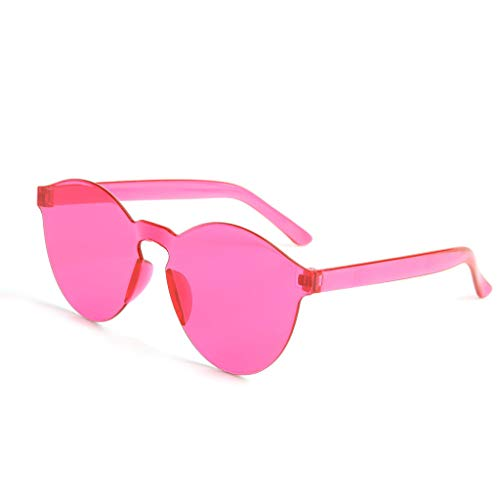 Round Pink Venetian Mirror - TIFENNY Sunglasses Frameless Transparent Glasses Europe and America Candy Color Summer Couple Sunglasses