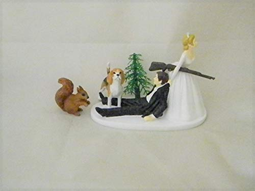 Wedding Reception Party Squirrel Hunter Hunting Dog Cake Topper