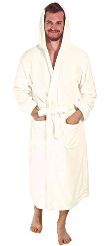 Verabella Hooded Robe Men Men's Winter Soft Plush Hooded Bath Robes,Vanilla -