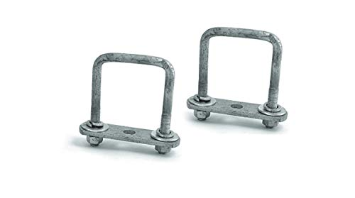 Sturdy Built Single Axle Galvanized U Bolt Kit for mounting Boat Trailer Leaf Springs for 2 inch Square axle - Diagonal