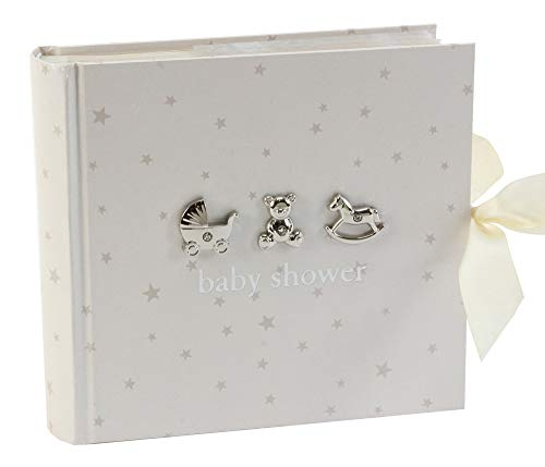 - Neutral Colored Baby Shower Photo Album With 3D Silver Icons By Haysom Interiors