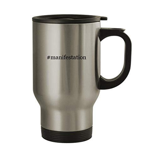 #manifestation - 14oz Sturdy Hashtag Stainless Steel Travel Mug, Silver