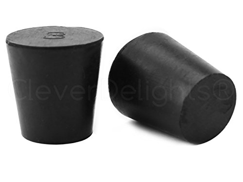 36 Pack - CleverDelights Solid Rubber Stoppers - Size 3-23mm x 17mm - 26mm Long - Black Lab Plug #3