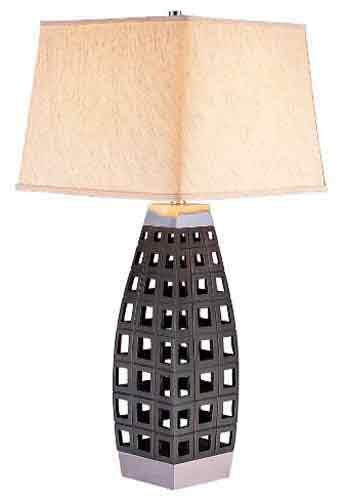 "Ore International K-4178T Honeycomb Table Lamp, 14,"" x 14,"" x 29,"", Dark Brown"