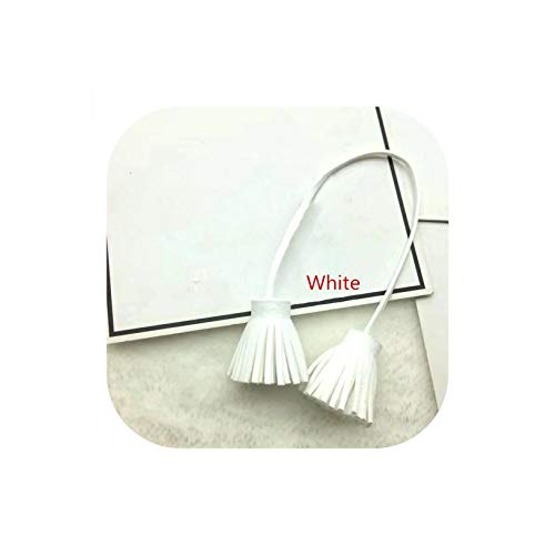 4PC Faux Leather Double Tassel Fringe Trim Rope Bag Key Decoration Pendant DIY Garment Sewing Accessories Crafts Small Tassels,White ()