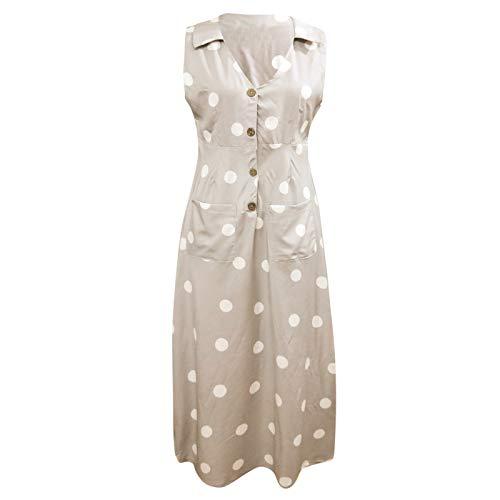 iHPH7 Women's Maxi Dress Casual Tunic Long Maxi Dress Elegant Dot Print Boho Dress Turn-Down V-Neck Dress Button Pocket Dress (XXL,2- Khaki) ()