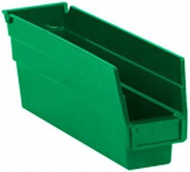 "Box Packaging Plastic Shelf Bin Box, Green, 23-5/8"" x 4-1/8"" x 4"" - 6 Per Case"