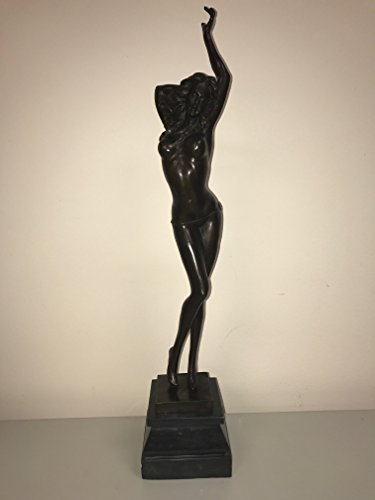 Sexy TopLess Woman Bronze Statue - Attention to Detail - Bronze Artwork - Naked Statue - Bronze Woman - Marble Bottom (Brass Marble Sculpture Statues)