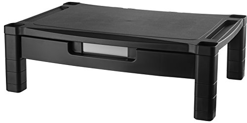 Kantek Laptop Bag - Kantek Extra Wide Single Level Height-Adjustable Monitor/Laptop Stand with Removable Drawer, 20-Inch Wide x 13-Inch Deep x 3 to 6.5-Inch High, Black (MS520)