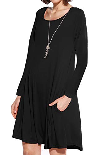 JollieLovin Women's Pockets Long Sleeve Casual Swing Loose Dress (Black, 2X) ()