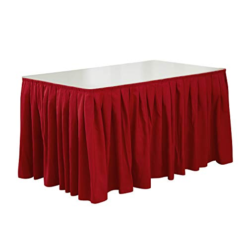 Deconovo 14ft Wedding Table Skirt Soft Decorative Faux Linen Party Pleated Table Skirt for Party, Birthday or Banquet Red 1 Piece ()