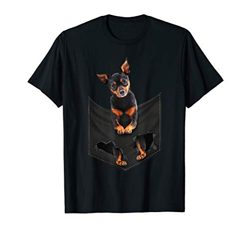 Miniature Pinscher Pocket Mid T Shirt, dog in pocket - Pinscher Mens T-shirt Dogs