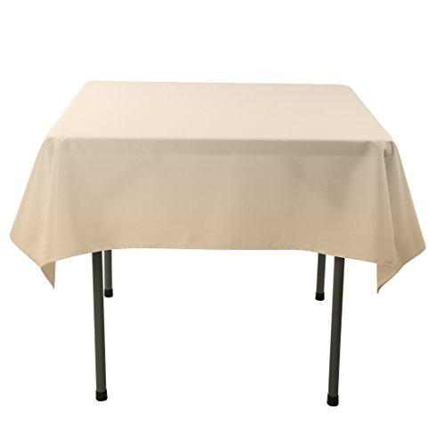 Square Polyester Tablecloth (E-TEX 70x70-Inch Polyester Square Tablecloth Beige)