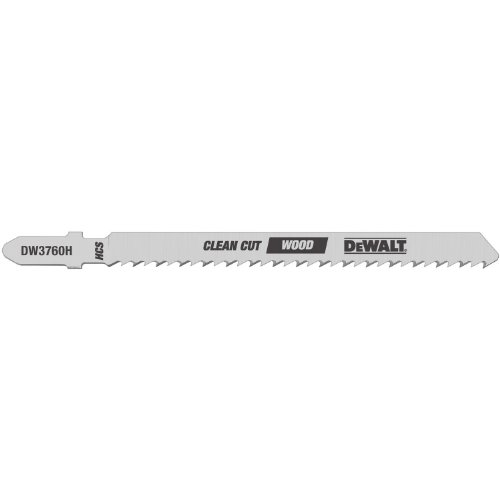 DEWALT DW3760-5 4-Inch 10TPI Fine Finish Wood Cut Cobalt Steel T-Shank Jig Saw Blade (5-Pack) (Fine Cut Replacement Blade)