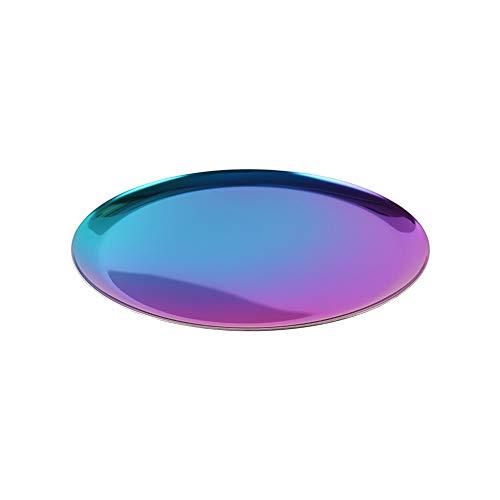 Unicoco Round Trinket Tray Colorful Stainless Steel Jewelry Organizer Tray Ring Necklace Trinket Storage Dish Plate ()