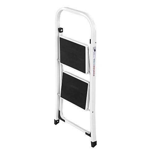 VonHaus Steel 2 Step Ladder Folding Portable Stool with 330lbs Capacity - Lightweight and Sturdy, White, 2 Step by VonHaus (Image #5)
