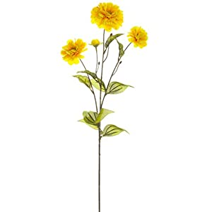 "26"" Silk Zinnia Flower Spray -Yellow/Gold (Pack of 12) 34"