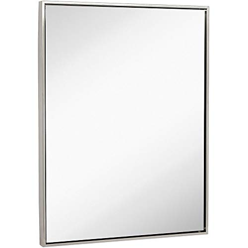 Hamilton Hills Clean Large Modern Brushed Nickel Frame Wall Mirror | Contemporary Premium Silver Backed Floating Glass (30