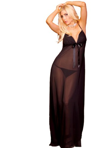 Lovely Day Lingerie LDL-LG1035, Sheer Sexy Long Gown-2 M Black