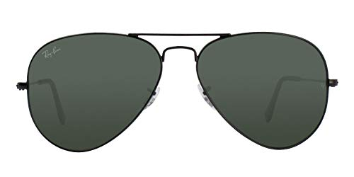 Ray-Ban RB3025 Aviator Classic Sunglasses, Black/Green, 58 mm