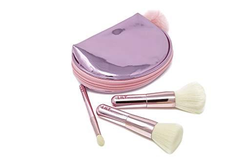 Mini Makeup Brush Set, Travel Makeup Brush Set, Makeup Brushes, Make up Brushes, Powder Makeup Brush, Foundation and Contour Brush, Blending Brush, Brushes Necessaire, Brushes Bag, Metallic Rose Brush