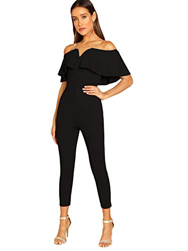 Verdusa Women's Elegant Off Shoulder Ruffle High Waist Long Jumpsuit Black L