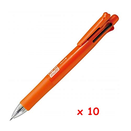 Zebra B4SA1 Clip-on multi F 0.7mm Multifunctional Pen (10pcs) - Orange (with Free 5-Color Sticky Notes)