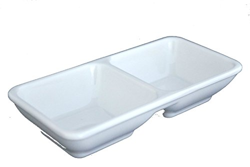 "Lucky Star Melamine 2-Compartment Divided Spicy Soy Sauce Dishes Mustard Wasabi Sashimi Rectangular Plastic Dipping Plates, 5-3/4"" X 1-3/4"", White (24)"