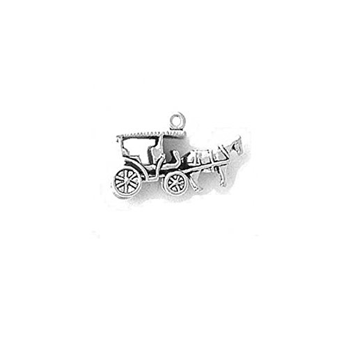 Sterling Silver 3D Surrey or Horse and Carriage Charm Ite...