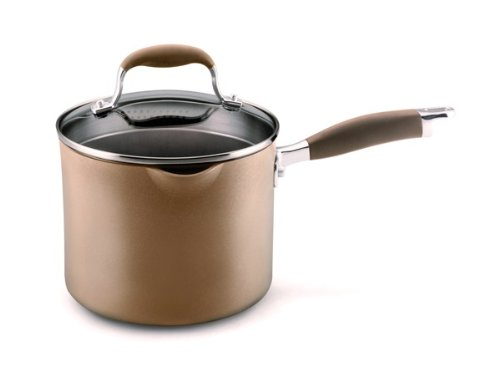 Anolon Advanced Bronze Hard Anodized Nonstick 3.5-Quart Covered Straining Saucepan with Spouts