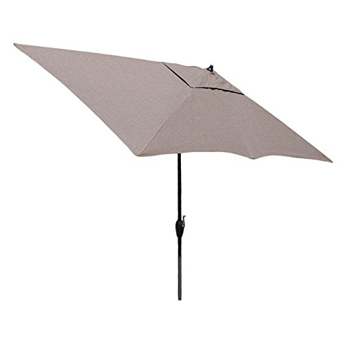 Hampton Bay 10 ft. x 6 ft. Aluminum Market Patio Umbrella in Saddle with Push-Button Tilt For Sale