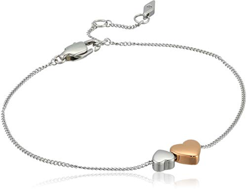 Fossil Women's Duo Hearts Two-Tone Stainless Steel Bangle Bracelet