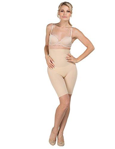 Delfin Spa Women's Body Slimming High Waist Shapewear Shorts, Nude, Medium (Carvico Stoff)