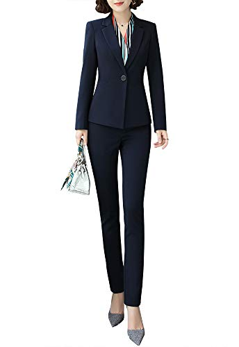 Women Two Pieces Blazers Work Office Lady Suit Business Blazer Jacket&Pant Blue